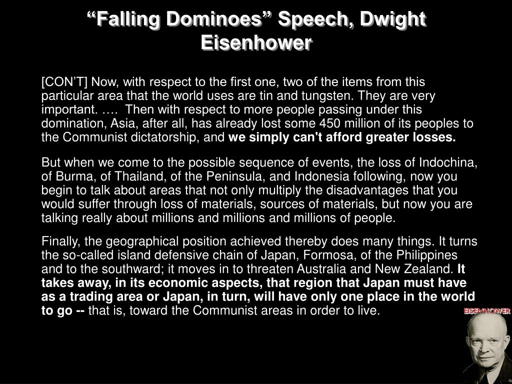 """Falling Dominoes"" Speech, Dwight Eisenhower"