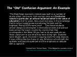 the old confucian argument an example