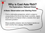 why is east asia rich the explanations rational choice