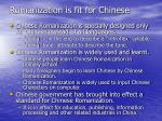romanization is fit for chinese