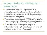 language interference interlanguage transfer theory