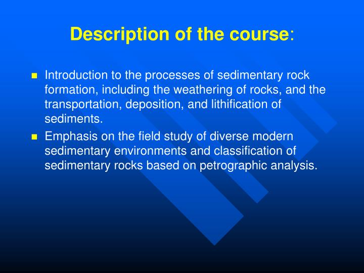 Description of the course