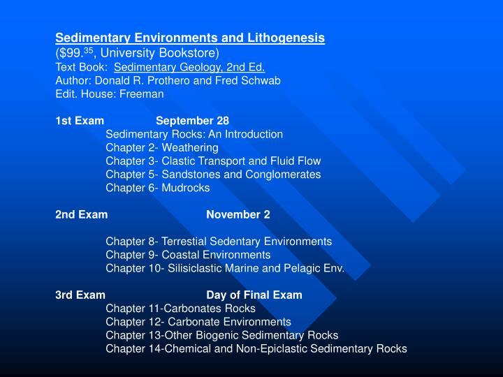 Sedimentary Environments and Lithogenesis