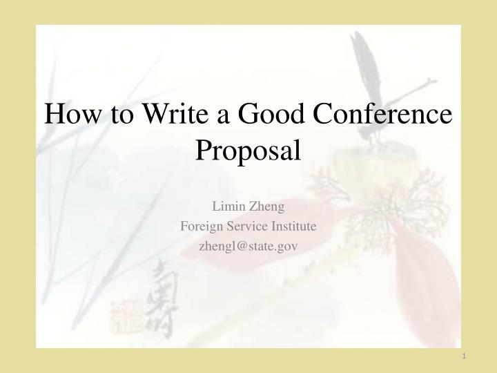how to write a good conference proposal n.