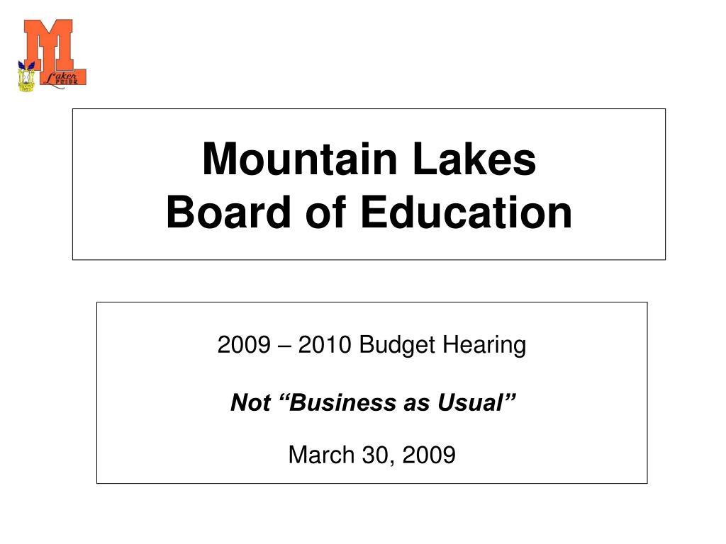 mountain lakes board of education l.