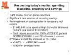 respecting today s reality spending discipline creativity and savings