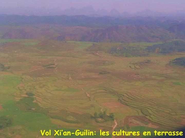 Vol Xi'an-Guilin: les cultures en terrasse