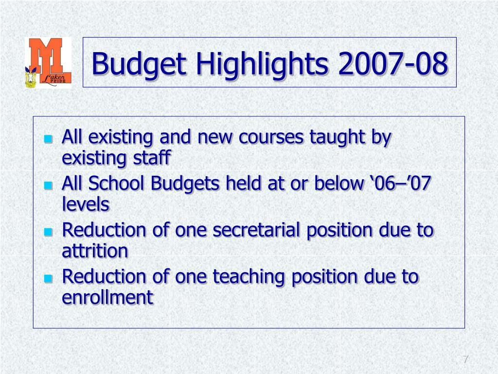 Budget Highlights 2007-08