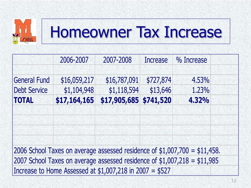 Homeowner Tax Increase