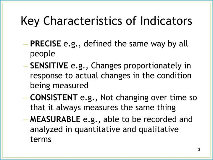 Key characteristics of indicators