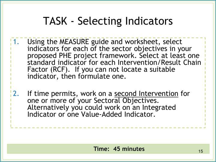 TASK - Selecting Indicators