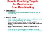 sample coaching targets for benchmarks from data meeting