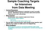 sample coaching targets for intensives from data meeting