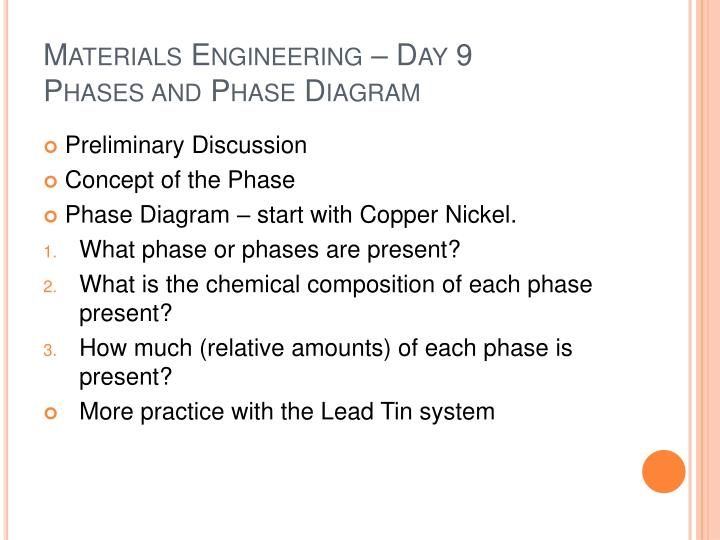 Materials engineering day 9 phases and phase diagram