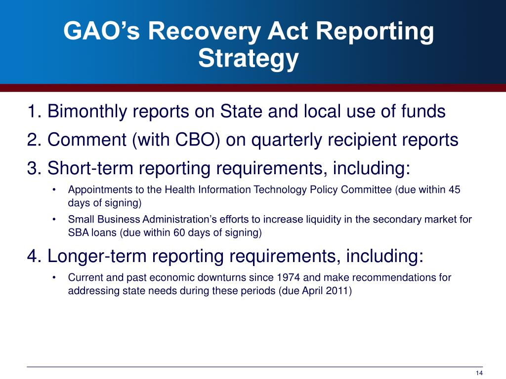 GAO's Recovery Act Reporting Strategy