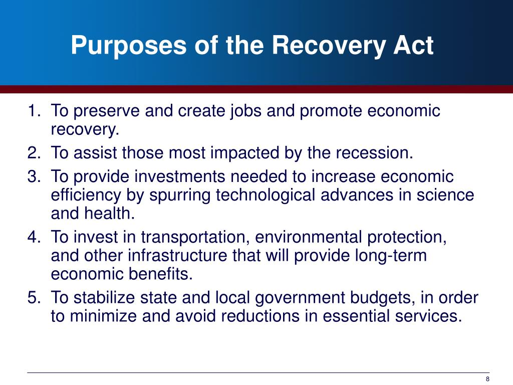 Purposes of the Recovery Act