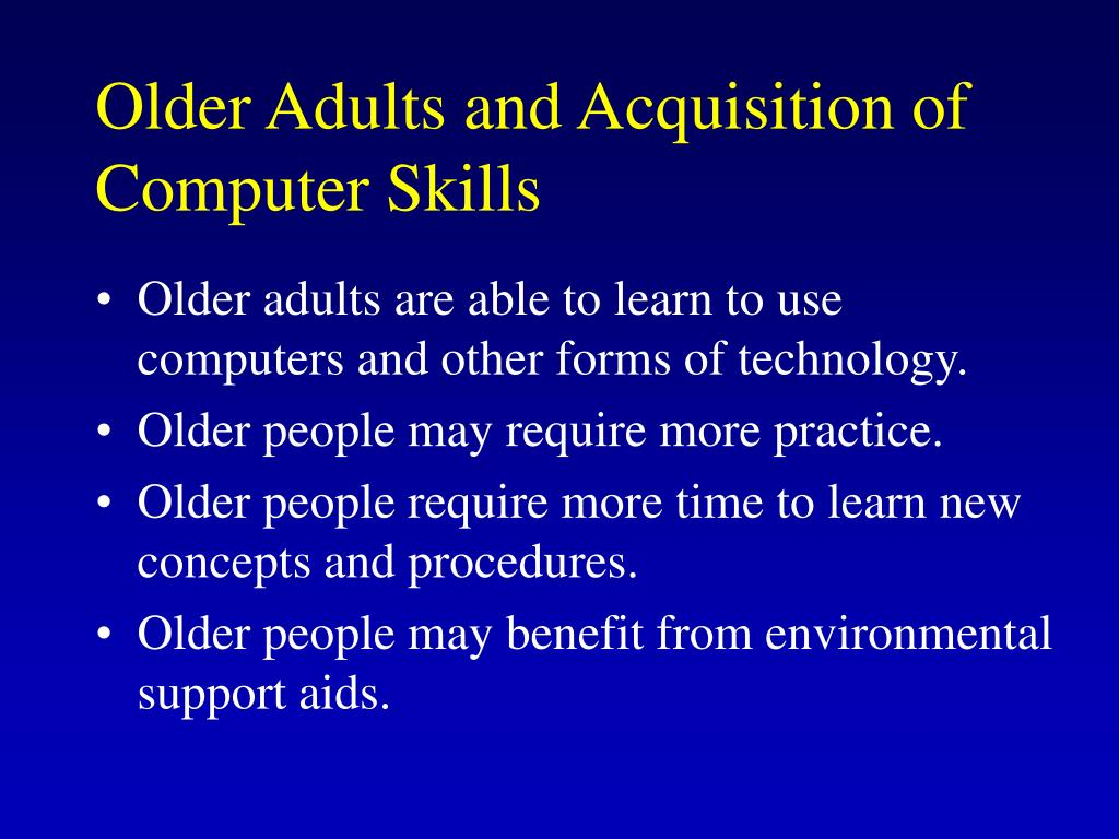 Older Adults and Acquisition of Computer Skills
