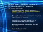 selector sends information package to technical services for processing