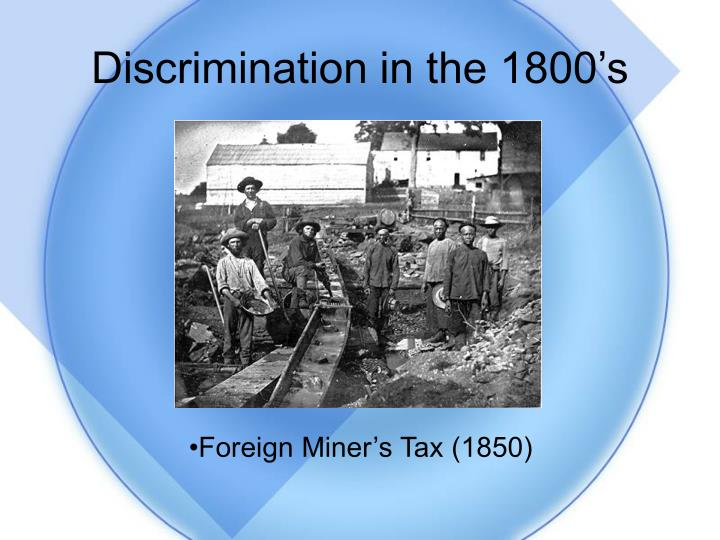 Discrimination in the 1800's