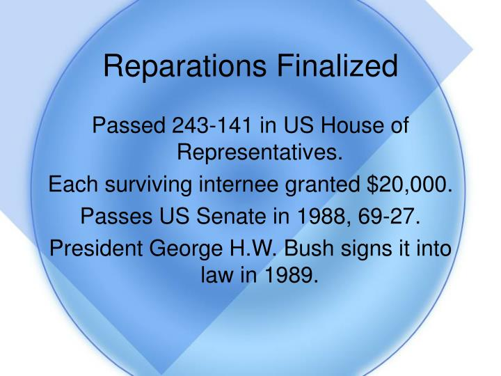Reparations Finalized