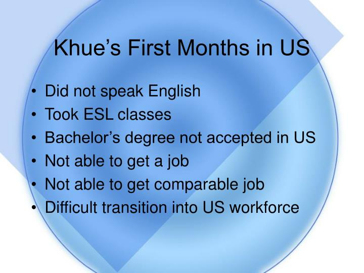 Khue's First Months in US
