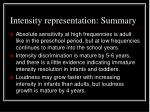 intensity representation summary