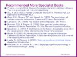 recommended more specialist books