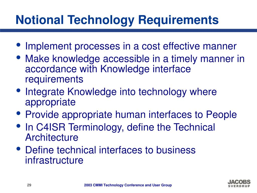 Notional Technology Requirements