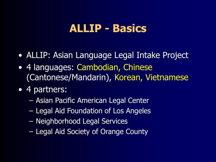 ALLIP - Basics