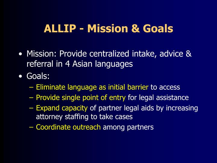 ALLIP - Mission & Goals