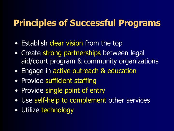 Principles of Successful Programs