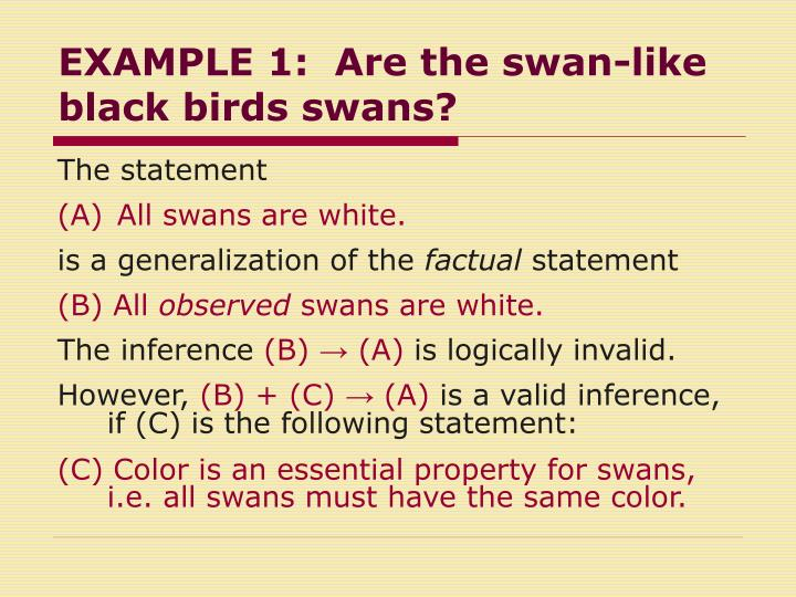 EXAMPLE 1:  Are the swan-like black birds swans?