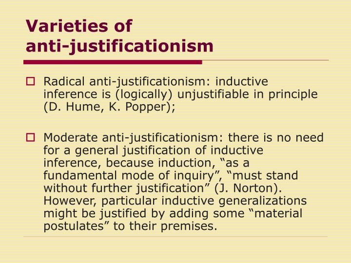 Varieties of anti justificationism