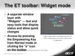 the et toolbar widget mode