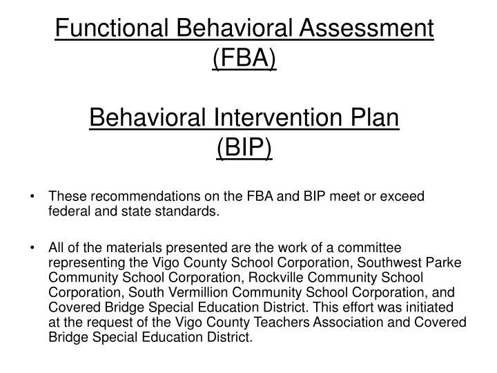 functional behavioral assessment fba behavioral intervention plan bip n.
