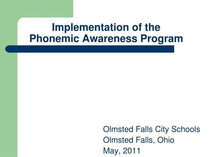 implementation of the phonemic awareness program n.