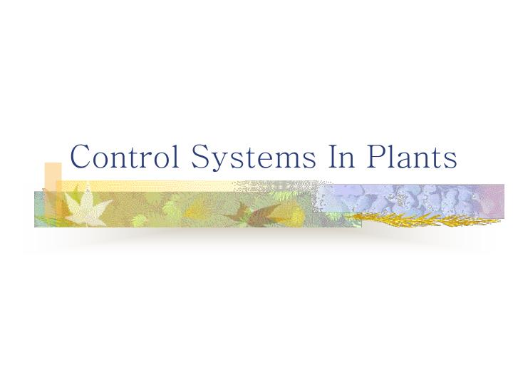 control systems in plants n.