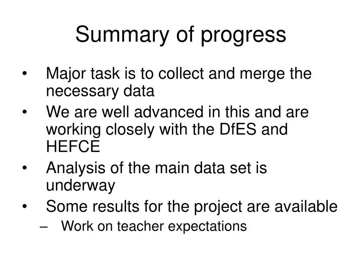 Summary of progress