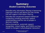 summary student learning outcomes