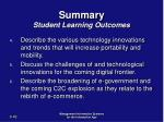 summary student learning outcomes42