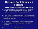 the need for information filtering information supplier convergence