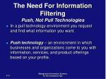 the need for information filtering push not pull technologies