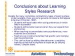 conclusions about learning styles research