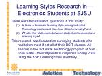 learning styles research in electronics students at sjsu