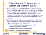 optimal learning environments for women and minority students 4
