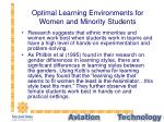 optimal learning environments for women and minority students
