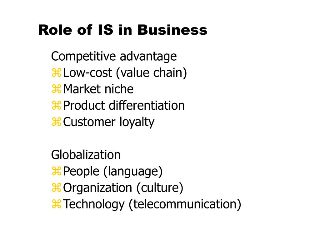 Role of IS in Business
