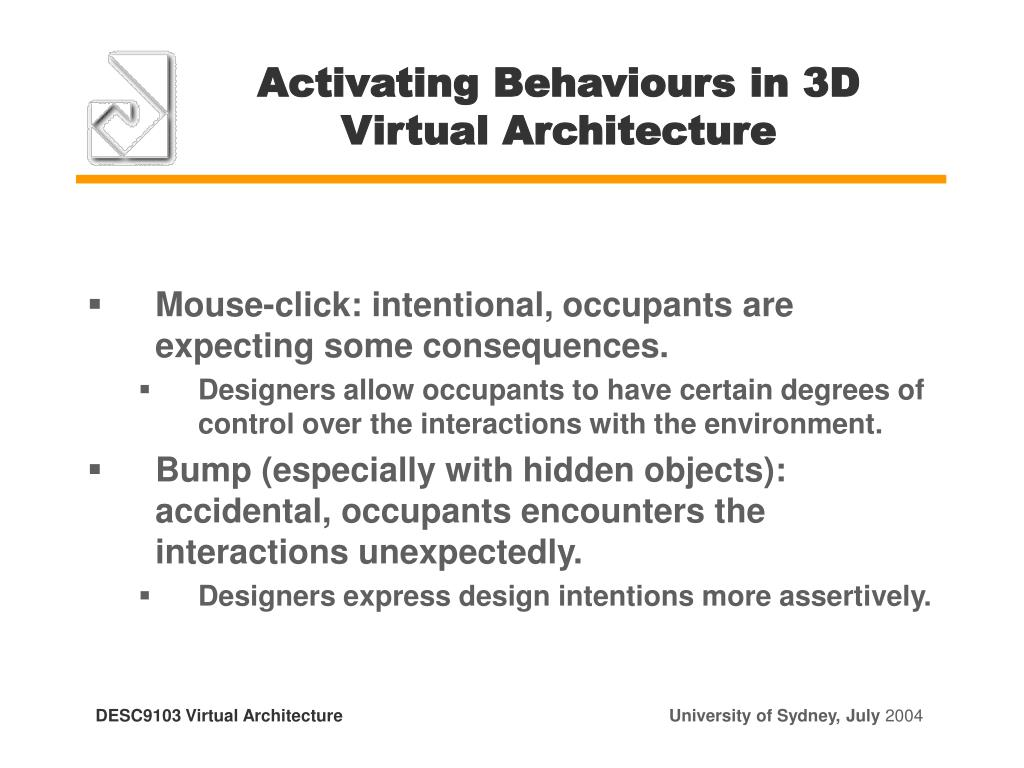 Activating Behaviours in 3D Virtual Architecture