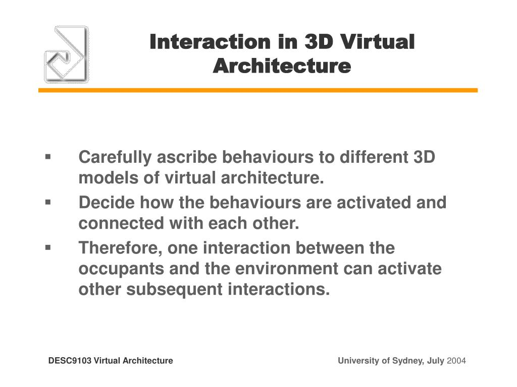 Interaction in 3D Virtual Architecture