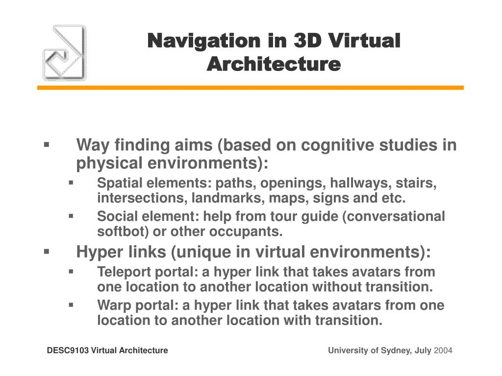 Navigation in 3D Virtual Architecture